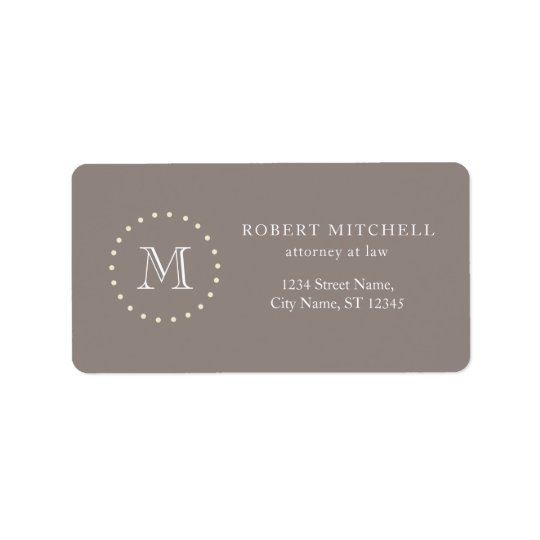 Monogram Elegant Professional Brown Address Labels