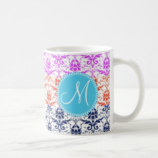 Monogram Elegant Rainbow Colorful Damask Fading Co Basic White Mug