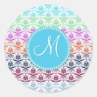 Monogram Elegant Rainbow Colorful Damask Fading Co Round Stickers
