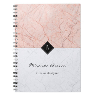 Monogram Elegant Rose Gold Gray Marble Notebook