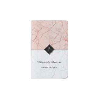 Monogram Elegant Rose Gold Marble Pocket Notebook