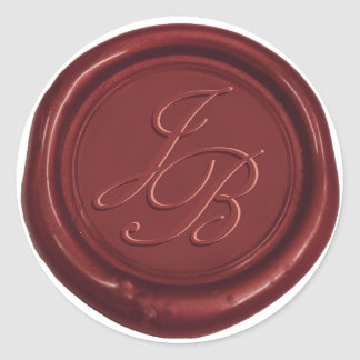 Monogram Elegant Script Red Wax Seal Wedding Round Sticker