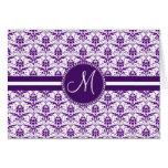 Monogram Elegant Vintage Purple and White Damask Cards