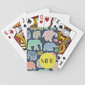 Monogram - Elephants, Polka Dots, Zigzag, Gingham Playing Cards