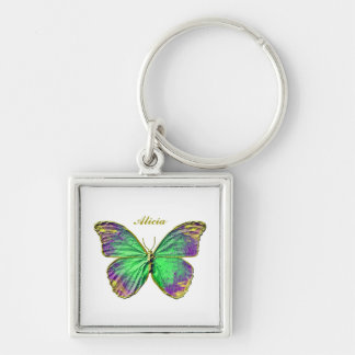 Monogram Emerald Purple Gold Butterfly Keychain