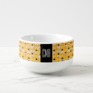Monogram Emoji Design Funny Yellow Happy Faces Soup Mug
