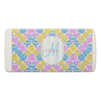 Monogram Emoji Pastel Colorful Faces Eraser
