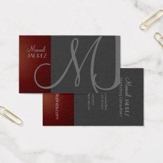 MONOGRAM En Retro colors/Graphite+Maroon Business Card