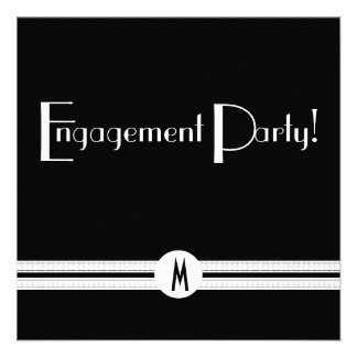 Monogram Engagement Party in Black and White Invitation
