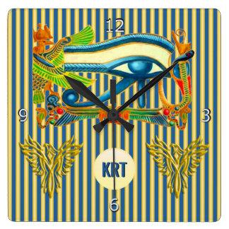 Monogram, Eye of Horus, Gold phoenix, lapis lazuli Square Wall Clock