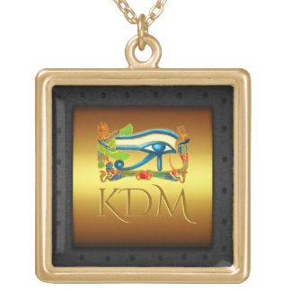 Monogram, Eye of Horus, riveted steel-effect frame Gold Plated Necklace