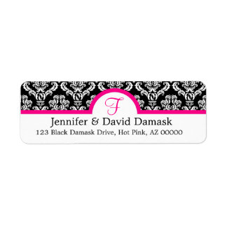 Monogram F Damask White Address Labels
