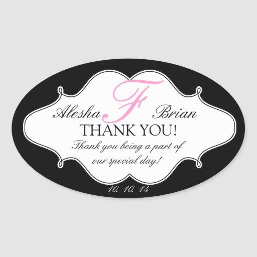 Monogram F Wedding Thank You Stickers Oval