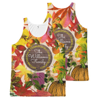Monogram Fall Autumn Leaves Collage Vintage Wood All-Over Print Singlet