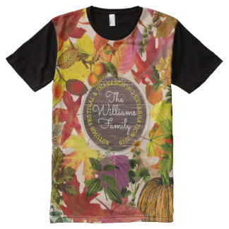 Monogram Fall Autumn Leaves Collage Vintage Wood All-Over Print T-Shirt