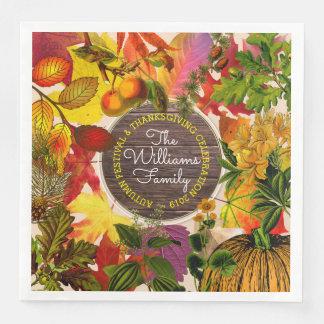 Monogram Fall Autumn Leaves Collage Vintage Wood Disposable Serviettes