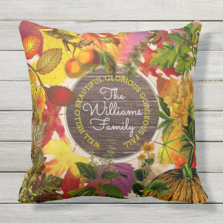 Monogram Fall Autumn Leaves Collage Vintage Wood Outdoor Cushion