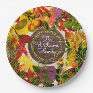 Monogram Fall Autumn Leaves Collage Vintage Wood Paper Plate