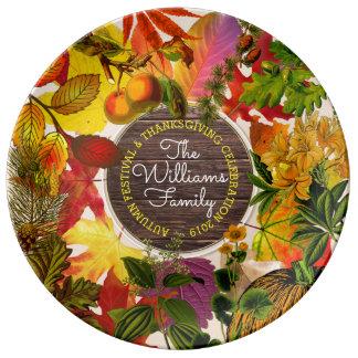 Monogram Fall Autumn Leaves Collage Vintage Wood Plate