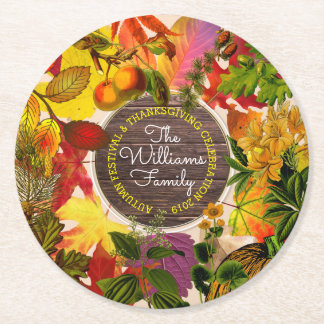 Monogram Fall Autumn Leaves Collage Vintage Wood Round Paper Coaster