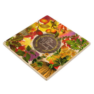Monogram Fall Autumn Leaves Collage Vintage Wood Wood Coaster