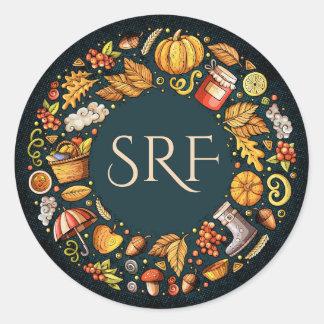 Monogram Fall Season Sticker