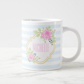 Monogram Fancy Pink Roses Blueberry Jumbo Mug