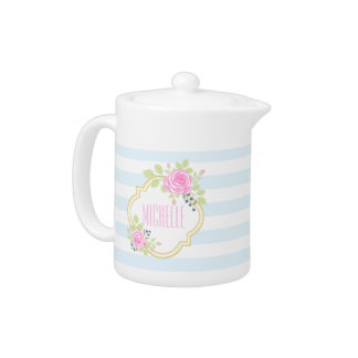 Monogram Fancy Pink Roses Blueberry Teapot