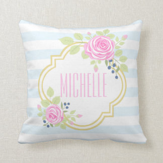 Monogram Fancy Pink Roses Blueberry Throw Pillow