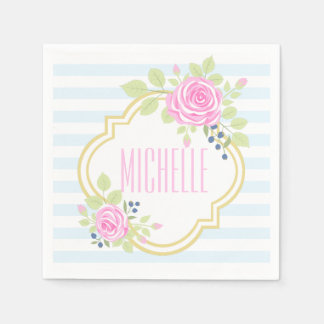 Monogram Fancy Roses Blueberry Paper Napkins
