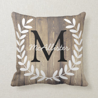 Monogram Farmhouse White Laurels Light Wood Planks Cushion