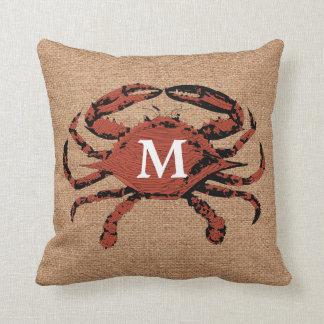 Monogram Faux Burlap Nautical Crab | Unique Pillow