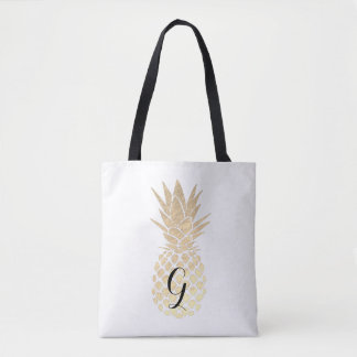 monogram faux gold foil pineapple tote bag