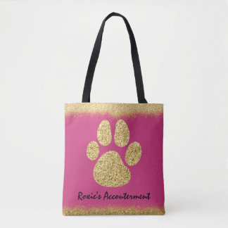 Monogram Faux Gold Glitter Puppy Dog Bling Tote Bag