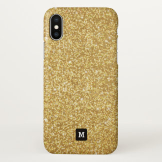 Monogram. Faux Gold Sparkly Glitters. iPhone X Case