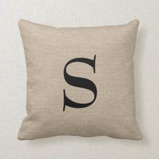 Monogram faux linen burlap rustic chic initial jut cushion