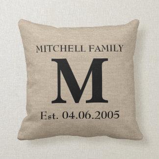 Monogram faux linen burlap rustic initial wedding throw pillows