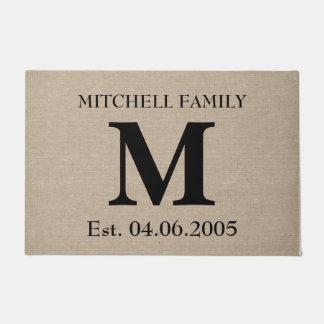 Monogram faux linen burlap rustic initial wedding doormat