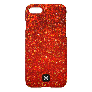 Monogram. Faux Red Sparkly Glitters. iPhone 8/7 Case
