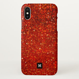 Monogram. Faux Red Sparkly Glitters. iPhone X Case