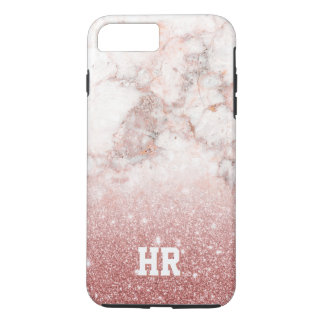 Monogram Faux Rose Gold Glitter White Marble Ombre iPhone 8 Plus/7 Plus Case