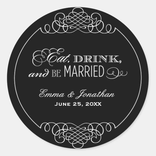 Monogram Favor Sticker   Eat, Drink & Be Married