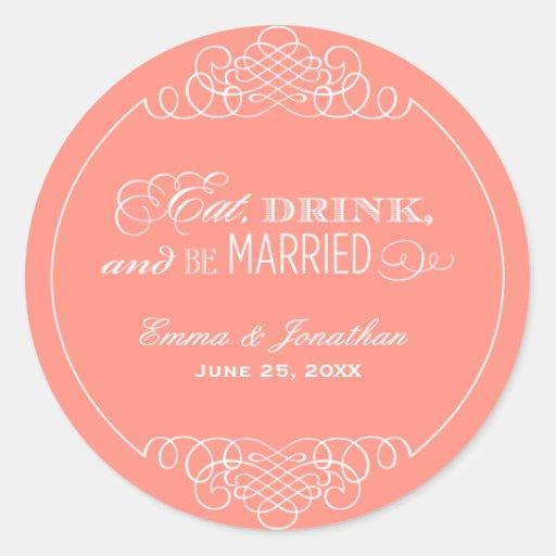 Monogram Favor Sticker   Eat. Drink & Be Married