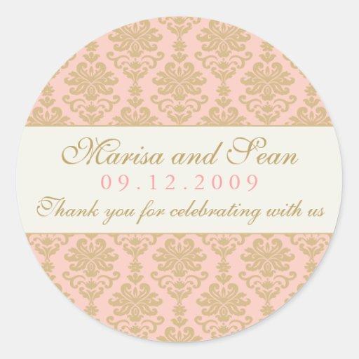 Monogram Favor Sticker | Pink Champagne Damask