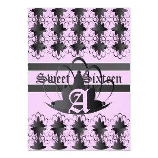 Monogram Filigree Extravaganza Sweet  16 -Cust, 13 Cm X 18 Cm Invitation Card