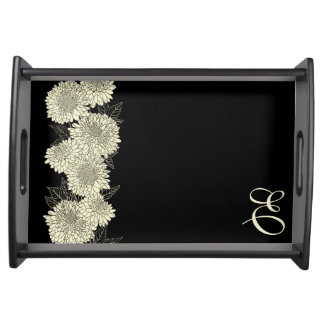 Monogram Floral Decorator Serving Tray