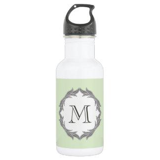 Monogram Floral Leaves Pattern Frame Light Green 532 Ml Water Bottle