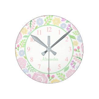 Monogram Floral Pastel Wall Clock