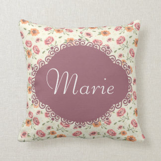 Monogram floral pattern cushion