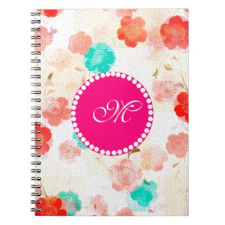 Monogram Floral Roses Note Books